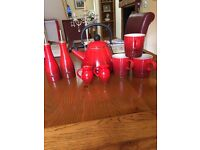 Le Creuset set in red