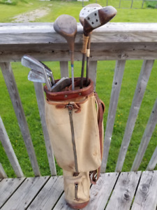 Vintage Canvas Golf Bag and Clubs - Best Offer or Trade