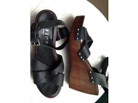 OFFICE black leather sandals size 39 UK 6