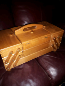 3 tier wooden sewing box accordian style