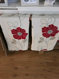 Red Flower Curtains