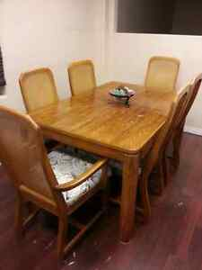 Large oak  6 chair dining set re upholstered