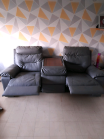 Grey leather 3 seater recliner