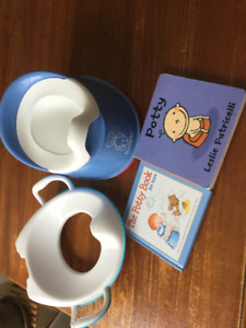 Potty chair, seat and 2 books