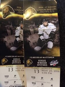 2 London knights tickets section 112 NOV 20 th vs Windsor  London Ontario image 1