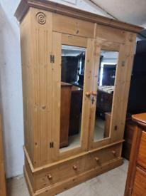 20th Century Solid Pine Two Door Mirrored Wardrobe