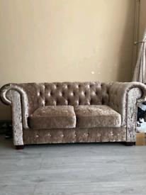 Crushed Velvet CHAMPAGNE GOLD Chesterfield Sofa