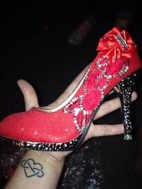 brand new red glitter shoes size 36
