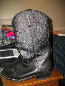 black COWBOY boots  size 8 1/2