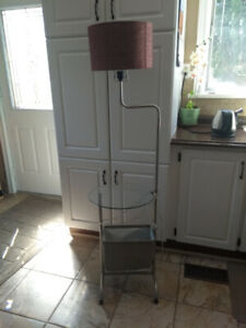 Pole Lamp with Glass Table and Magazine Rack.