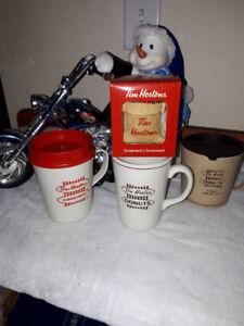 Vintage Tim Hortons travel and china cup mugs Christmas ornament