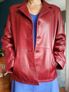 Burnt red leather jacket