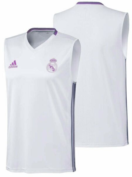 Adidas Mens Real Madrid Sleeveless Training Top - White & Purple (Size L) (BNWT)