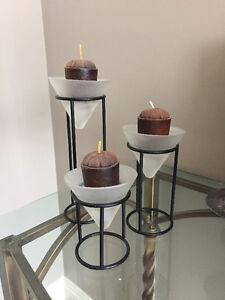 Candle Holders (set of 3) with candles