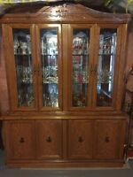 Hutch and display cabinet with kitchen table set
