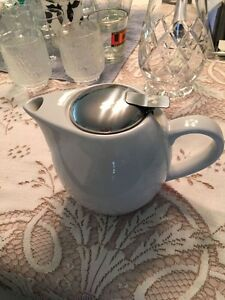 White Teapot with Metal Strainer