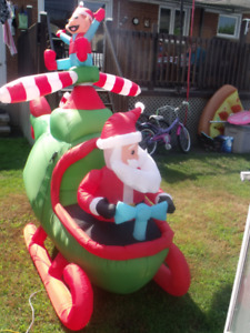 8 FT CHRISTMAS ANIMATED HELICOPTER SANTA & ELF INFLATABLE