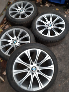 4 BMW 3 series mags + Bridgestone winter tires 225/45r17
