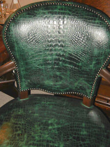 antique walnut office or library chair, green alligator leather