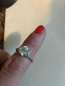 Price lowered 2.42 ctw antique style engagement ring
