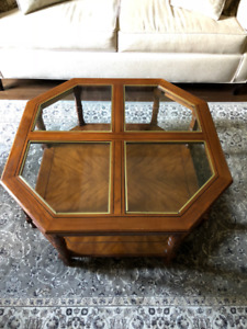 Oak Coffee Table and Two End Tables with Glass Tops