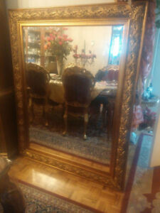 VERY LARGE 46.5X59 WELL DESIGNED BEAUTIFUL GOLD HALLWAY MIRROR