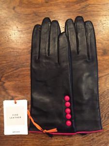 Brand New Black leather gloves with red button detailing
