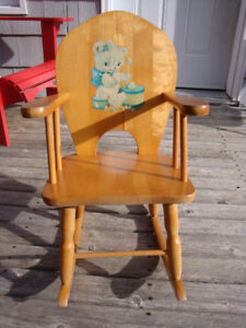 Vintage Solid Wood Child's Rocking Chair