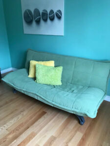 Lime green sofa-bed futon couch. Retail $300.