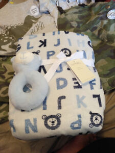 Baby blanket with rattle new
