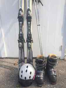 Halan Skis with poles, boots and helmet and goggles