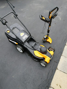 Worx electric mower and cordless trimmer
