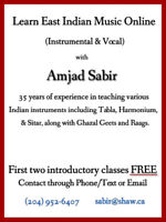 Online East Indian music lessons Vocal and instrumental