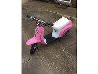 Girls razor pocket electric moped pink
