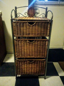 Wicker Stand with Drawers