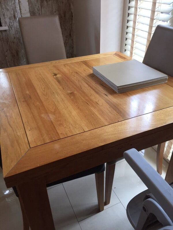 NEXT solid wood extending dining table and 4 Real leather  : 86 from www.gumtree.com size 600 x 800 jpeg 56kB