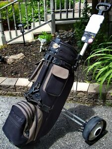 Barely used Spalding golf bag and cart