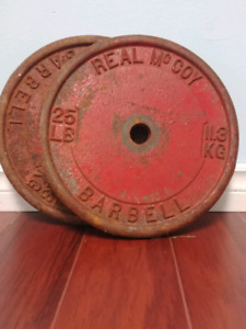 2 - 25lb steel weight plates