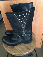 BlackLeather Studded Boots