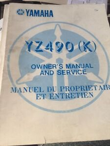 1983 Yamaha YZ490K Owners Service Manual
