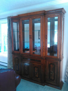 Upper portion of a oak china cabinet