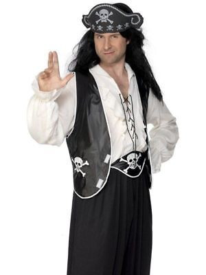 Adult Pirate Set Hat, Waistcoat and Belt Unisex Fancy Dress Costume Outfit