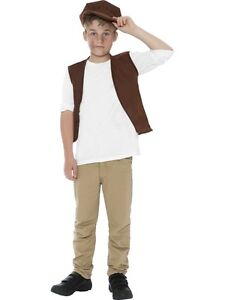 BOYS VICTORIAN BOY URCHIN FANCY DRESS UP COSTUME CHILDRENS TUDOR OUTFIT + HAT