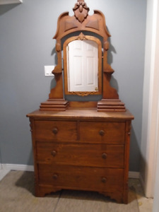 Antique Wooden Armoire with Mirror for Sale.