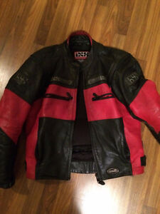 Black and Red Leather Motorcycle Jacket Medium size