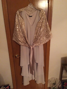 Dress, shawl, shoes,purse, necklace and earrings set.