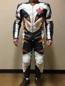 New Himalaya Leather Motorcycle Race Suit, Orange,Metallic,Black Edmonton Edmonton Area image 2