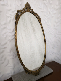 Vintage gold brass ornate mirror