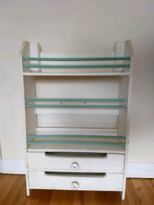 Painted wood shelves with drawers