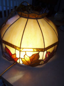 Vintage Large Tiffany Style Stained Glass Hanging Lamp